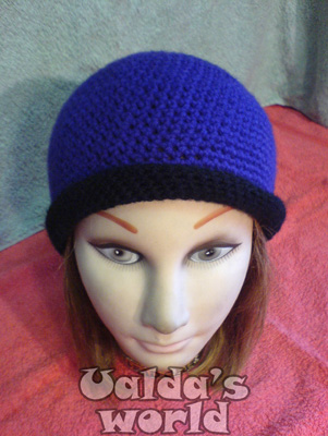 Purple & black cloche / beanie crochet hat