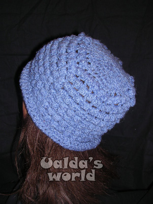 Blue bobbly tea-cosy-style crochet hat