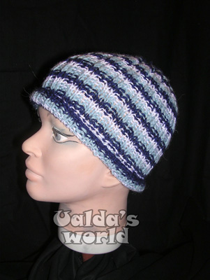 Blue & white hooped knitted hat